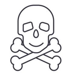 skull with bones line icon sign vector image