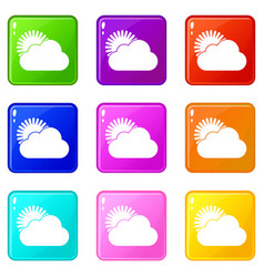 Sun and cloud icons 9 set vector