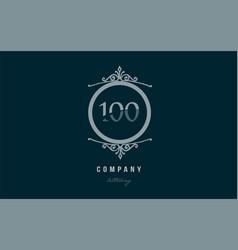 100 one hundred blue decorative monogram number vector