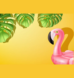 3d pink flamingo inflatable pool ring vector image