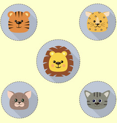 A set of icons in the circle of a cat a tiger a vector