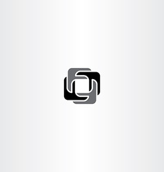 abstract black square logo business icon vector image
