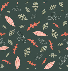 Abstract leaves green white pink orange seamless vector