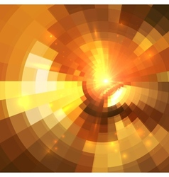 Abstract orange shining circle tunnel background vector image vector image