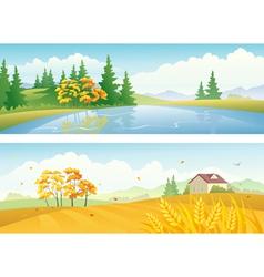 Autumn landscape banners vector