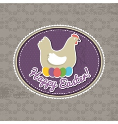background with easter eggs and one hen vector image