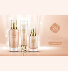 bb cream beauty cosmetics bottles for skin vector image