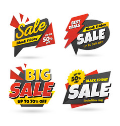 black friday sale sticker banner set vector image