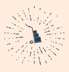 Black hand truck and boxes icon isolated on beige vector