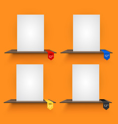 book shelves with lables on orange background vector image