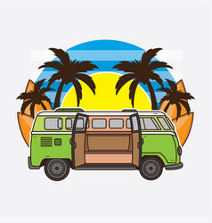 Car and surfboard summer holiday vector