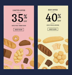cartoon bakery elements web banner vector image