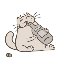 Cartoon cat holds a glass bottle of wine and vector