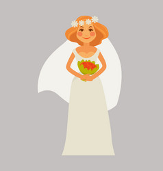 Cheerful bride with bouquet vector