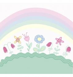 Childlike floral background vector