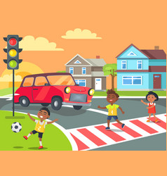 Children playing and crossing road vector