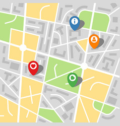 City map of an imaginary city with four pins vector