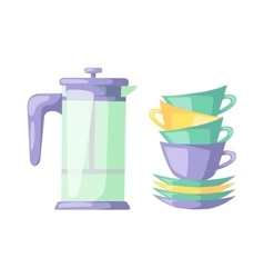 Clean cups dishware vector image