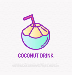Coconut drink with straw thin line icon vector