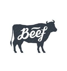 cow bull beef vintage lettering retro print vector image