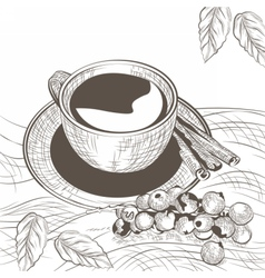 Cup of coffee with cinnamon and berry vector