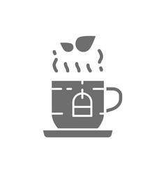 Cup of english herbal tea grey icon vector