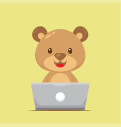 Cute bear working with laptop vector