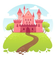 Cute cartoon medieval castle vector image