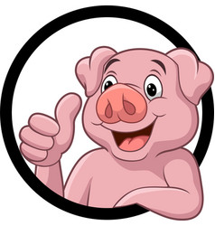 Cute pig cartoon giving thumb up vector