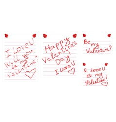 Day of Valentine notes vector image