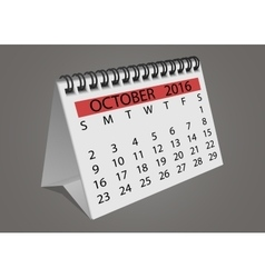 Desktop turn page calendar october 2016 vector