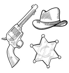 doodle cowboy sheriff vector image vector image