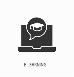 e-learning distance education icon for vector image