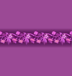 floral border engraved nature vector image