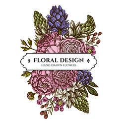 Floral bouquet design with colored peony vector