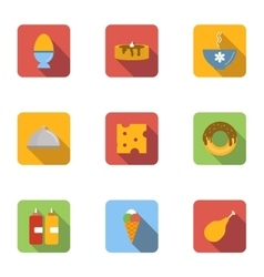 Food in morning icons set flat style vector