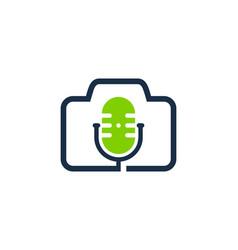 frame podcast logo icon design vector image