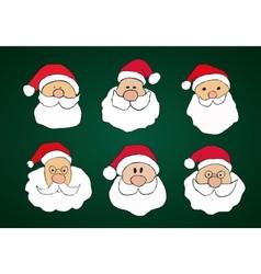 funny hand drawn santa clauses set on dark green vector image