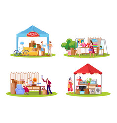 Garage sale flat set vector