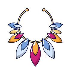 gemstone necklace icon cartoon style vector image