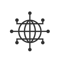 global network icon in flat style cyber world on vector image