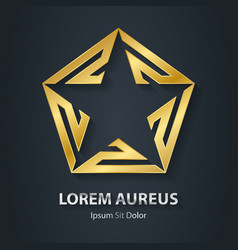Gold star logo award golden 3d icon metallic vector