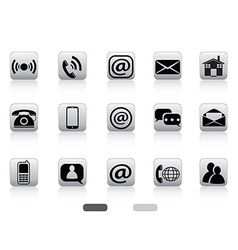 gray contact buttons icon set vector image