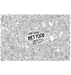 Hand drawn doodle cartoon set of diet food vector