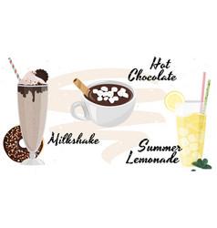 Hand drawn milkshake hot chocolate and lemonade vector