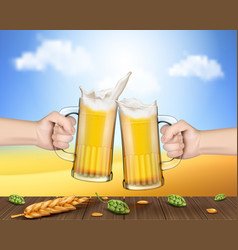 Hands holding glass mugs with beer raised in toast vector