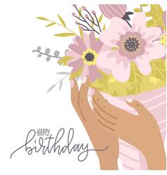 Happy birthday greeting card elegant female hands vector