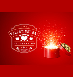 happy valentines day greeting card design and gift vector image