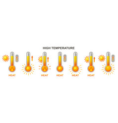 heat thermometer high hot temperature icon heating vector image
