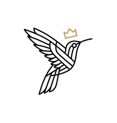 humming bird king crown monoline outline logo icon vector image